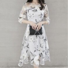 ขาย ชุดเดรสแฟชั่นใหม่จากผู้หญิงชุดเดรสแฟชั่นการพิมพ์ระดับไฮเอนด์ออร์แกนแกว่งชุด ดอกไม้สีขาว นานาชาติ Unbranded Generic เป็นต้นฉบับ