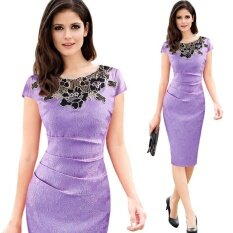 ซื้อ Ocean New Fashion Women Dresses Short Sleeves Rose Pencil Skirt Bud Silk Dress Purple Intl ออนไลน์ จีน