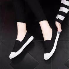 ทบทวน รองเท้าแฟชั่นรองเท้าแฟชั่นรองเท้าผ้าใบ Han รุ่นรองเท้าผ้าใบ สีดำ นานาชาติ Unbranded Generic