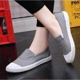 Ocean New Ladies Fashion Flat Shoes Han Edition Canvas Shoes Grey Intl ถูก