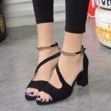 Ocean New Ladies Fashion High Heeled Sandals A Word Buckle Fish Mouth Shoes Black Intl จีน