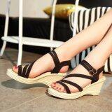 ทบทวน Ocean New Ladies Fashion Wedge Sandals Bohemia Beach Shoes High Heels Black Intl