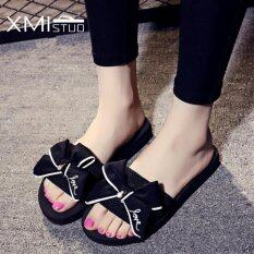 ทบทวน ที่สุด Ocean New Ladies Flat Bow Slippers Sandal Sandals Black Intl