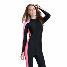 ส่วนลด Ocean New Lady Conjoined Bathing Suit Uv Protection Long Sleeve Diving Suit(Black Pink Intl Unbranded Generic จีน