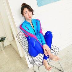 ราคา Ocean New Lady Conjoined Diving Suit Long Sleeve Prevent Bask In A Bathing Suit Blue Intl Unbranded Generic จีน