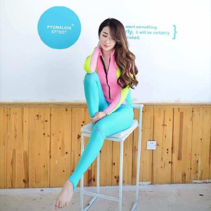 ราคา Ocean NEW Lady Diving suit fission bathing suit… ซื้อที่ไหน Ocean ใหม่ผู้หญิงชุดว่ายน้ำแขนยาวป้องกัน Bask ในชุดว่า