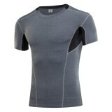 ขาย ซื้อ Ocean New Man Tight Training Pro Sports Shirts Movement Fitness Running Short Sleeve Elastic Quick Drying T Shirt (Grey) Intl