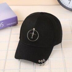 Ocean New Men Fashion Hats Simple Three Ring Sun Sports Street Baseball Hat Unisex Black Aircraft Intl จีน