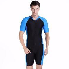 ซื้อ Ocean New Unisex Conjoined Diving Suit With Short Sleeves Prevent Bask Bathing Suit Black Blue Intl ใหม่