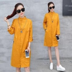 Ocean New Women Fashion Dresses Han Edition Lapel Single Breasted Medium Length Thin Shirt Dress Yellow Intl Thailand