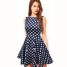 ส่วนลด Ocean New Women Midi Skirts Wave Point Bubble Skirt Sleeveless Dress (Blue) Intl Unbranded Generic จีน