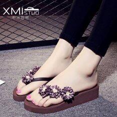 ซื้อ Ocean New Women S Fashion Flip Flops Pu Little Daisy Flower Slippers Coffee Intl ถูก จีน