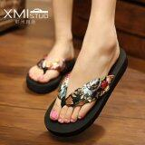 ราคา Ocean New Women S Sandals Flip Flops Bohemian Beach Shoes(Black Gilding) Intl