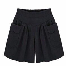 ขาย ซื้อ Ocean ผู้หญิงแฟชั่นกางเกงขาสั้นสบายๆขนาดกว้างขาไขมัน Mm 100 กิโลกรัมหลวมยืดหยุ่นกางเกงขาสั้นร้อน สีดำ นานาชาติ ใน จีน