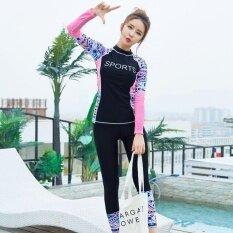 Ocean หญิงสวมใส่ชุดว่ายน้ำชุดว่ายน้ำสองชิ้นกันน้ำ    โยคะชุดสูทเสื้อ + กางเกง (สีดำ).