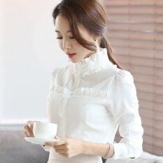 ส่วนลด เสื้อแขนยาวซีฟอง สีขาว ขนาดใหญ่ ผู้หญิง สไตล์เกาหลี สีขาว สีขาว ฮ่องกง