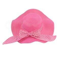 ส่วนลด Ol P Shop หมวกแฟชั่น สานปีกกว้างมีโบว์ สีชมพู Thailand