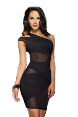 ซื้อ One Shoulder Clubwear Tank Dress Black ใหม่