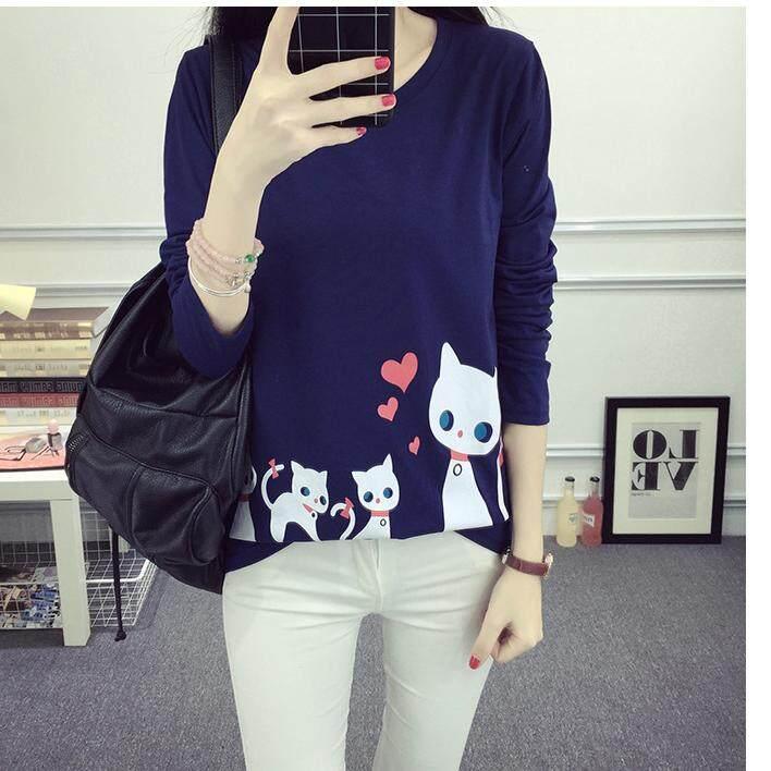 ถูกเหลือเชื่อ one step เสื้อยืดแฟชั่น ผู้หญิง คอกลม แขนยาวสกรีนลายแมว (สีกรม) รุ่น 4302 ของแท้ ราคาถูก