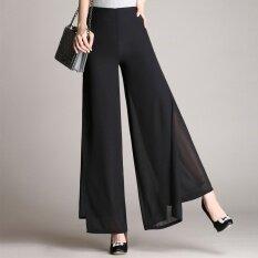 หรือ 2017 ฤดูร้อนย่อหน้าเกาหลีรุ่นเอวสูงสองชั้น ชีฟองกว้างกางเกง ใหม่ล่าสุด