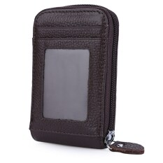 องก์หนังมีซิปกระเป๋าสตางค์บัตรแข็งสีสำหรับผู้ชาย กาแฟ เป็นต้นฉบับ