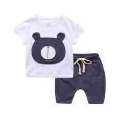 Orien Bear Children S Clothes Summer Two Piece Shorts T Shirts White Intl เป็นต้นฉบับ