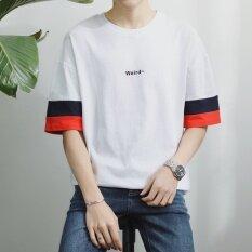 ทบทวน ที่สุด Original Summer T Shirt Men S Short Sleeve Korean Style Tide Student Neck Embroidered English Simplified Half Sleeve Loose Youth T Shirt Intl