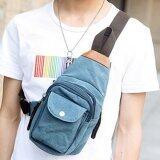 ราคา Osaka กระเป๋าสะพายไหล่ คาดอก ผ้า Canvas รุ่น Ne35 สีฟ้า ถูก