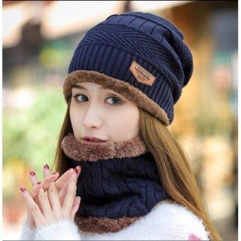 OSAKA หมวกผ้าไหมพรมและผ้าพันคอ สไตล์เกาหลี รุ่น UP48 (สีน้ำเงิน)