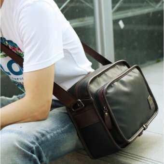 OSAKAกระเป๋าสะพายข้างผู้ชาย ใบขนาดพอเหมาะ หนัง PU รุ่น UP155 - สีดำ-