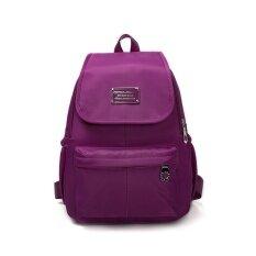 ส่วนลด กระเป๋าเป้สะพายหลังเกาหลีกระเป๋าเป้ผ้า Oxford หญิงกันน้ำ ลึกสีม่วง ฮ่องกง