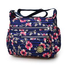 กระเป๋าสะพายผ้าออกซ์ฟอร์ดสำหรับผู้หญิงมีหลายสี สีฟ้าดอกไม้ขนาดใหญ่ สีฟ้าดอกไม้ขนาดใหญ่ ฮ่องกง