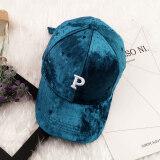 ราคา ฤดูใบไม้ร่วงและฤดูหนาวเกาหลีหญิงตัวอักษรหมวกเบสบอลหมวก หงส์กำมะหยี่สีเขียวเข้ม P ตัวอักษร ใหม่ล่าสุด