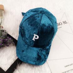 ขาย ฤดูใบไม้ร่วงและฤดูหนาวเกาหลีหญิงตัวอักษรหมวกเบสบอลหมวก หงส์กำมะหยี่สีเขียวเข้ม P ตัวอักษร ผู้ค้าส่ง