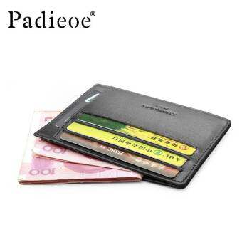 Padieoe Genuine Leather Men Black wallet Card Holder Fashion Small Purse Slim Wallet Men Mini Coin P-