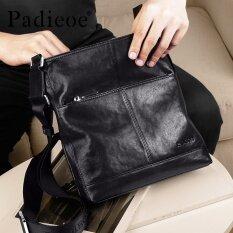 ขาย Padieoe New Men Shoulder Bag Genuine Cow Leather Crossbody Bag Business Messenger Bag Soft Male Bag Black 10 6Inch Intl เป็นต้นฉบับ