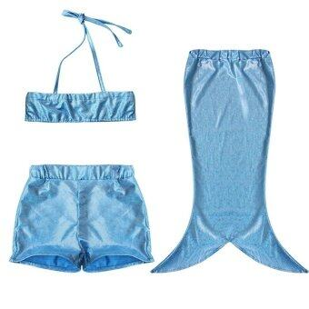 PAligth 3ชิ้นเด็กหญิงเงือกชายชุดว่ายน้ำ (สีน้ำเงิน)