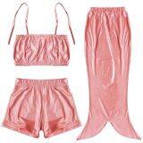 ซื้อ Paligth 3ชิ้นเด็กหญิงเงือกชายชุดว่ายน้ำ สีแดง ถูก จีน