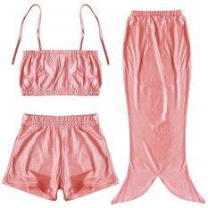 ราคา Paligth 3ชิ้นเด็กหญิงเงือกชายชุดว่ายน้ำ สีแดง เป็นต้นฉบับ