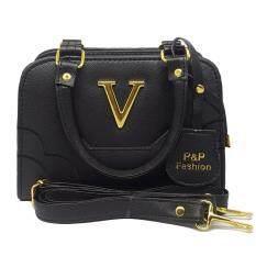 โปรโมชั่น P P Fashion Women Bag กระเป๋าถือแฟชั่นพร้อมสะพายข้างขายดี สีดำ กรุงเทพมหานคร