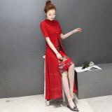 ราคา สไตล์จีน Cheongsam ฤดูร้อนใหม่ปกยืนขึ้นดีขึ้น สีแดง ใหม่ล่าสุด