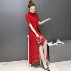 ราคา สไตล์จีน Cheongsam ฤดูร้อนใหม่ปกยืนขึ้นดีขึ้น สีแดง