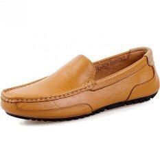 ราคา Pathfinder ผู้ชายขับรถรองเท้าหนังรองเท้าลื่น สีน้ำตาล ราคาถูกที่สุด