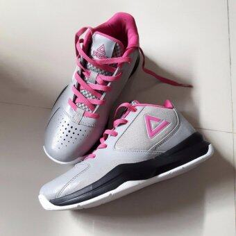 PEAK รองเท้า บาสเกตบอล Women Basketball shoes ทุกสภาพ สนาม พีค รุ่น E53392A - Gray/Pink