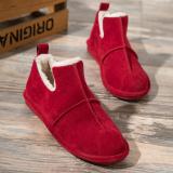 ซื้อ รองเท้าไม่มีส้นรองเท้าฤดูหนาวเกาหลี Peas รองเท้าแบนนักเรียน สีแดง ใหม่ล่าสุด