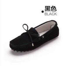 ส่วนลด รองเท้าหนัง Peas รองเท้าผู้หญิงฤดูใบไม้ผลิโบว์ สีดำ ฮ่องกง