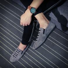 ราคา ขี้เกียจเกาหลีชายฤดูใบไม้ผลิจิตวิญญาณรองเท้าน้ำ Peas A822 สีเทา น้ำหนักเบารองเท้า ใหม่