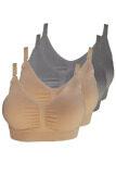 ส่วนลด Perfect Bra ชุดชั้นในให้นมบุตร Nursing Bra ใส่ได้ตั้งแต่ตั้งครรภ์ แบบ Sport สีเนื้อ เทา เชต 4 ตัว 2 สี Perfect Bra