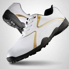 Pgm รองเท้ากอล์ฟผู้ชายpgm Xz016 สีขาว ทอง (size Eu 35 - Eu 44) (eu:35) By Golffeeshop.
