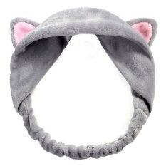 ขาย ผ้ารัดผม ผ้าเก็บผม หูแมว ยางยืด แฟชั่น น่ารัก ใช้ตอนแต่งหน้า ทาครีม มาร์คหน้า ใส่เล่น ถ่ายรูป สีเทา Unbranded Generic ถูก